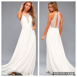 New Lulus Adella White Lace Maxi A-line Dress XS